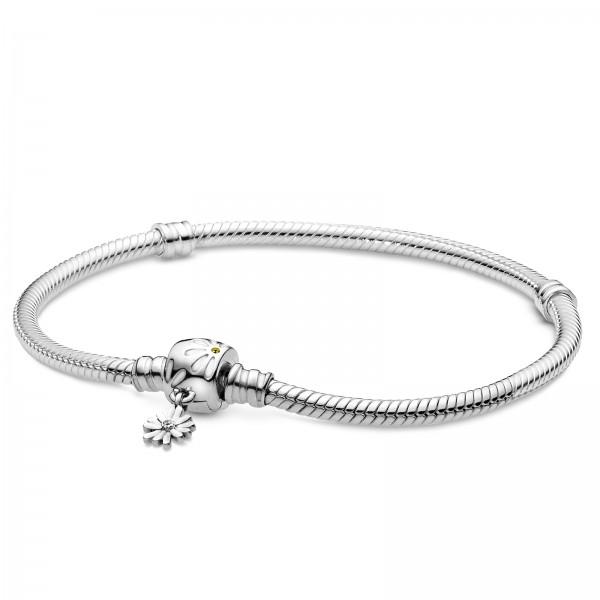 Verspieltes Gänseblümchen-Verschluss Schlangen-Gliederarmband PANDORA 598776C01
