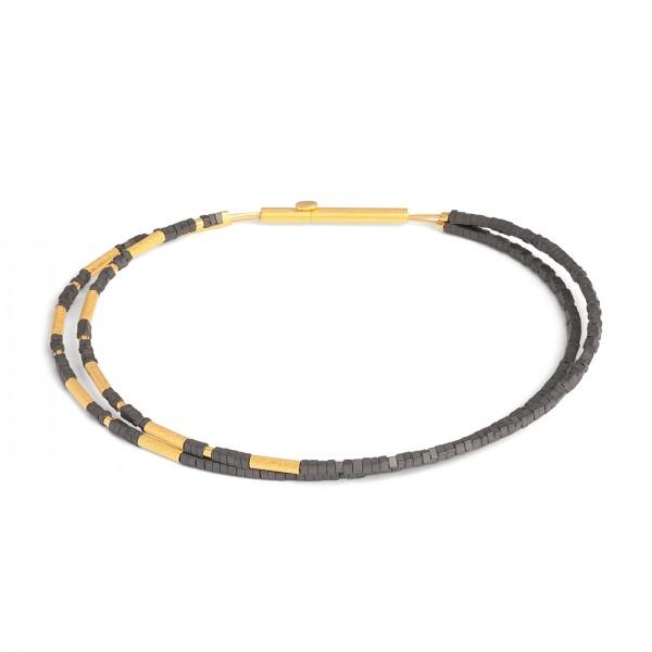 62511276 Clini Designlinie Cleopatra Armreif mit edlem Hämatin und 24 Karat Goldplattierung