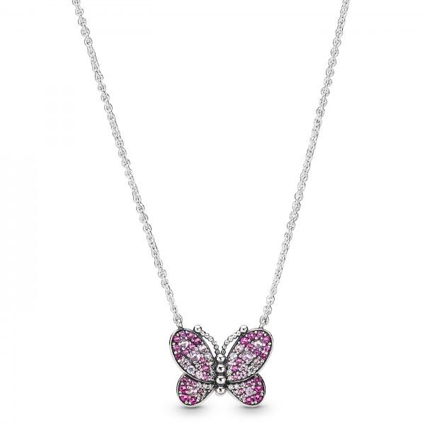 Dazzling Pink Butterfly Necklace PANDORA Halskette 397931NCCMX-50