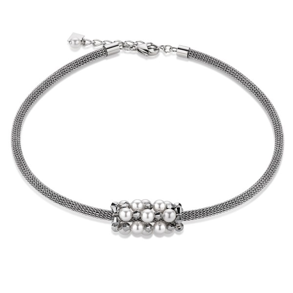 Coeur De Lion Collier Swarovski® Kristalle & Crystal Pearl & Mesh silber 4824101700
