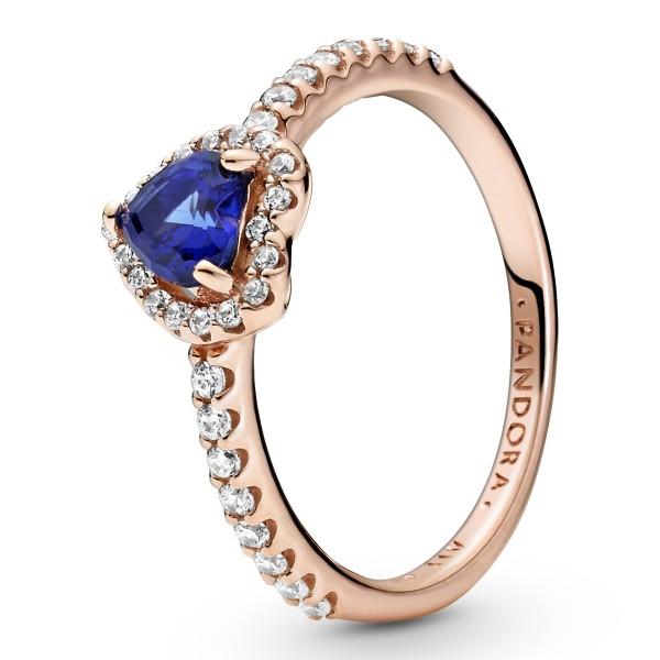Funkelndes blaues erhabenes Herz Ring PANDORA ROSE Ring 188421C01