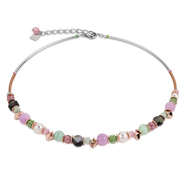 Collier frontline Swarovski® Kristalle & Crystal Pearls by Swarovski® & Bergkristall grün-rosa 48641