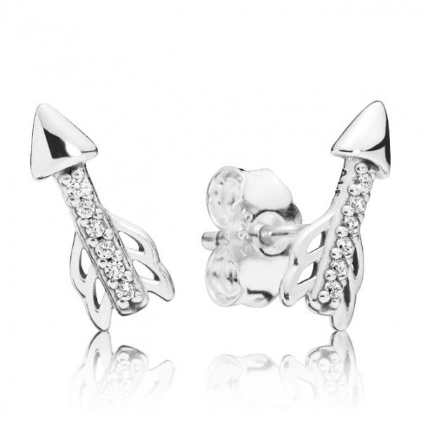 PANDORA Ohrringe Arrow silver stud earrings with clear cubic zirconia 297828CZ