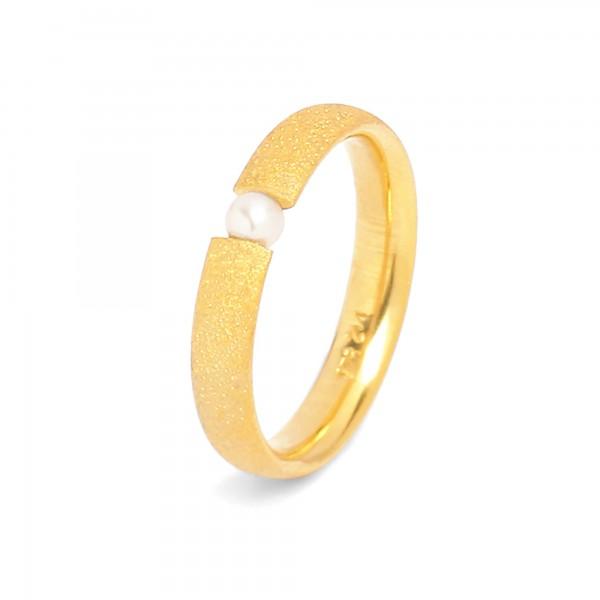 51104656 Enas Ring mit schimmernder Süsswasserperle und 24 Karat Goldplattierung
