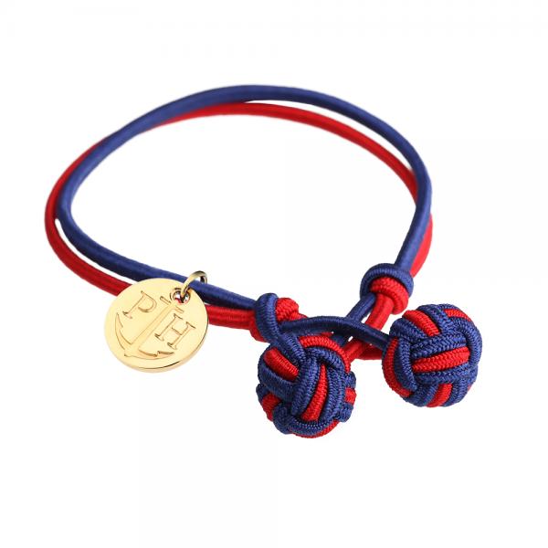 PAUL HEWITT Gold Knotenarmband Marineblau-Rot PH-KB-NR-S-G