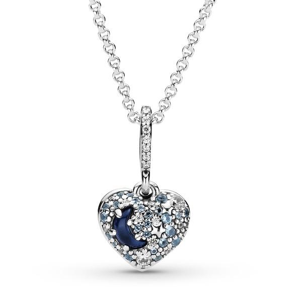 Funkelnde Blauer Mond und Sterne Herz PANDORA Halskette 399232C01-50