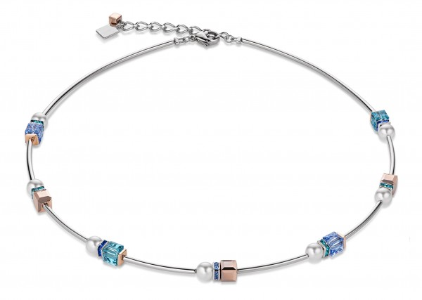 Coeur De Lion Collier Geo Cube & Crystal Pearls blau 4804100700