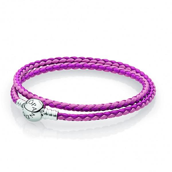 PANDORA Armband pinkes Leder, zweifach gewickelt 590747CPMX